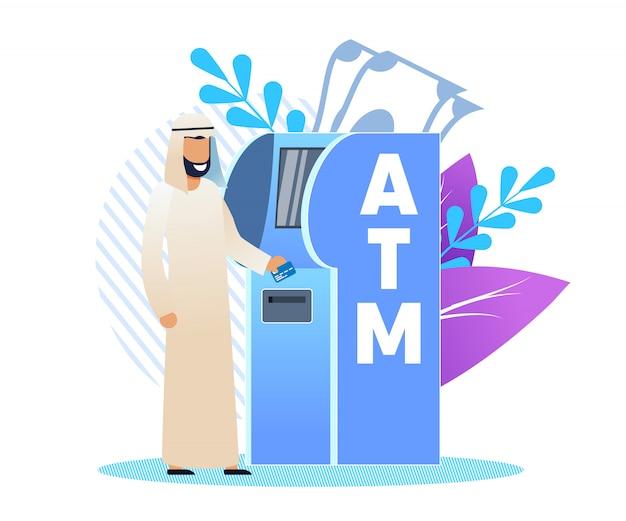 Homem na roupa árabe em um atm, desenhos animados lisos.