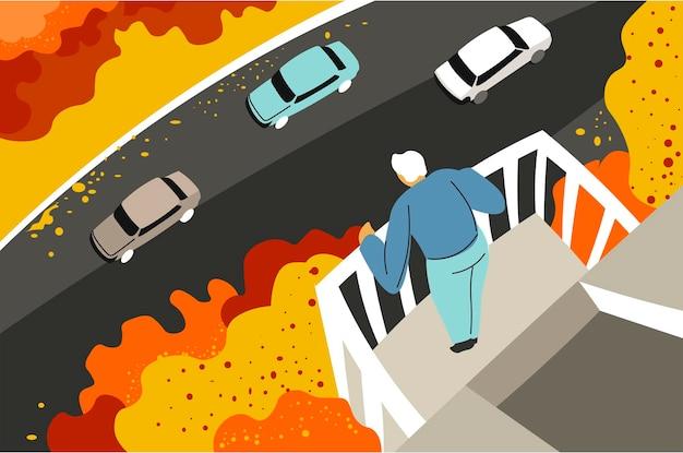 Homem na varanda olhando para a rua com carros