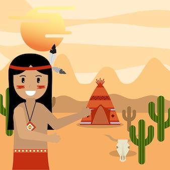 Homem nativo americano, apontando a casa de tenda