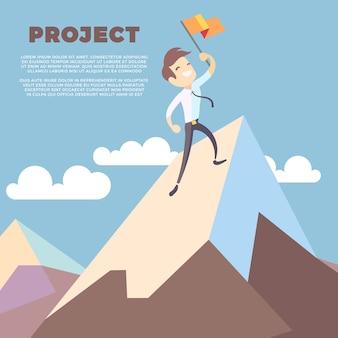 Homem negócio, bandeira segurando, ligado, montanha, pico, vetorial, fundo