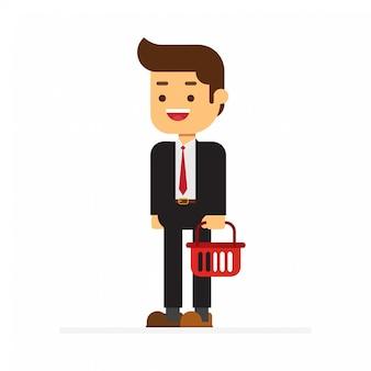Homem negócio, com, cesta fazendo compras