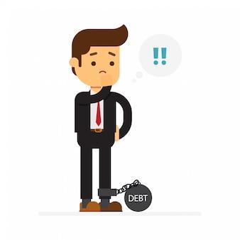 Homem negócio, com, dívida