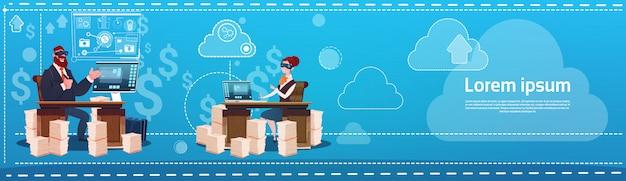 Homem negócio, e, mulher, desgaste, digital, realidade virtual, óculos, sentando, escrivaninha, escritório, trabalhando lugar, comput