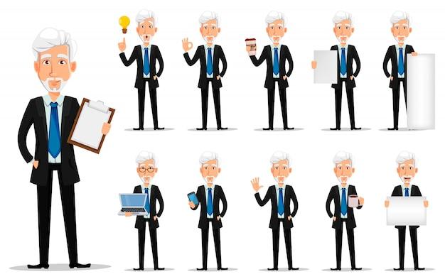 Homem negócio, em, escritório, estilo, roupas, com, cabelo cinzento