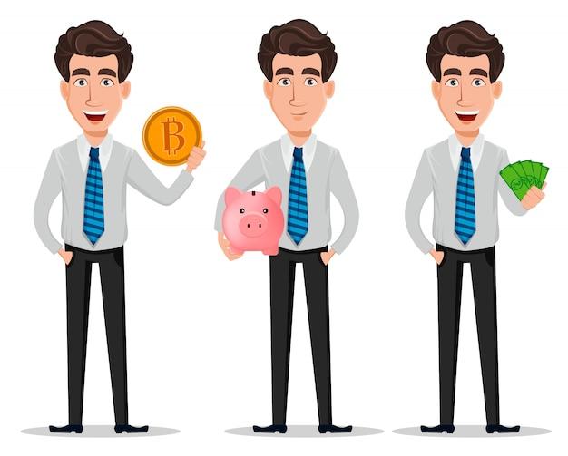 Homem negócio, em, escritório, estilo, roupas