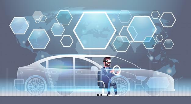 Homem negócio, em, vr, headset, dirigindo virtual carro, inovação, visual, tecnologia, realidade, óculos, conceito