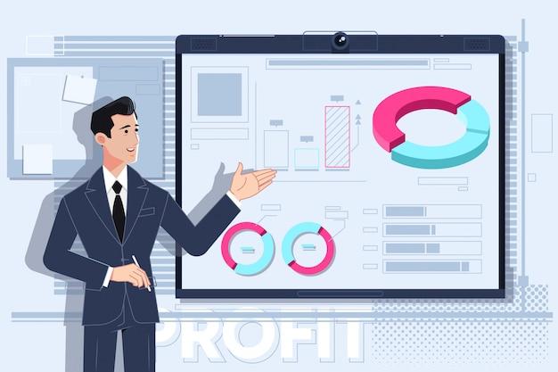 Homem negócio, fazendo uma apresentação