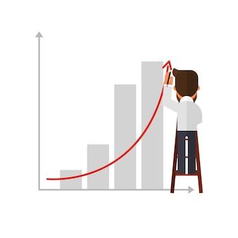 Homem negócio, ficar, ligado, escada, desenho gráfico crescimento, ligado, parede