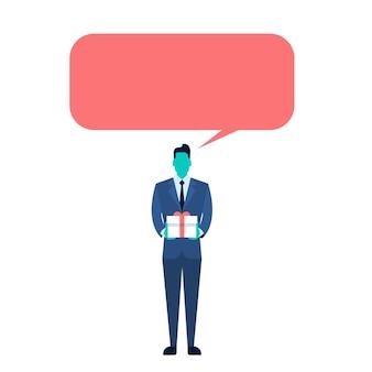 Homem negócio, mantenha presente caixa presente, com, conversa, bolha