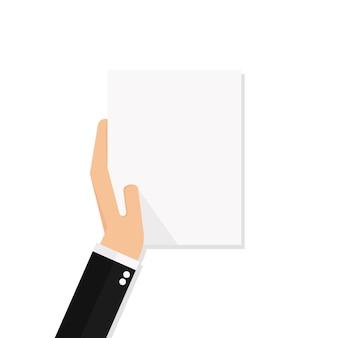 Homem negócio, mão segura papel