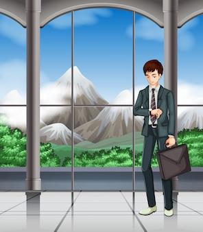 Homem negócio, olhando relógio