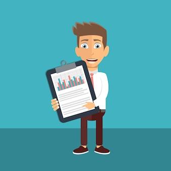 Homem negócios, analisar, financeiro, estatísticas