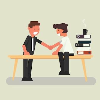 Homem negócios, apertar mão, ligado, tabela