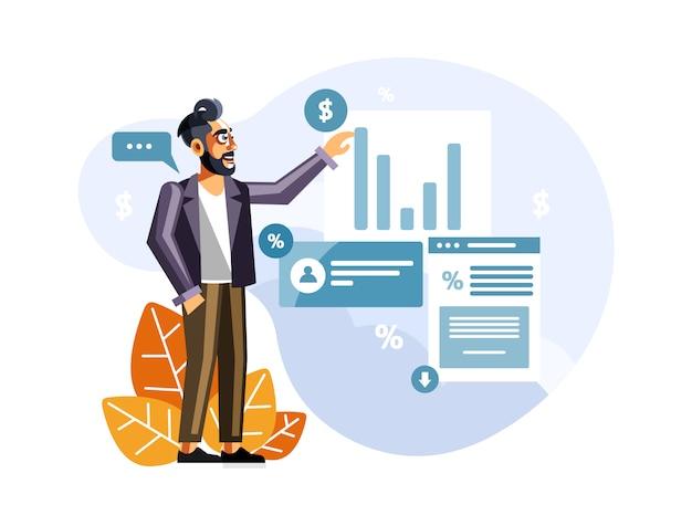 Homem negócios, apresentando, marketing, dados