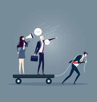 Homem negócios, arrastando, seu, bossy, colegas trabalho, sozinha