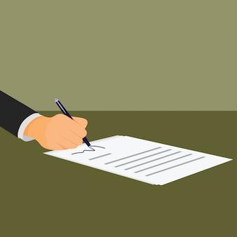 Homem negócios, assinando, um, documento, com, caneta, e, contrato