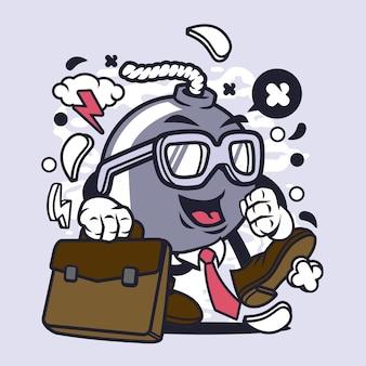 Homem negócios, bomba, caricatura