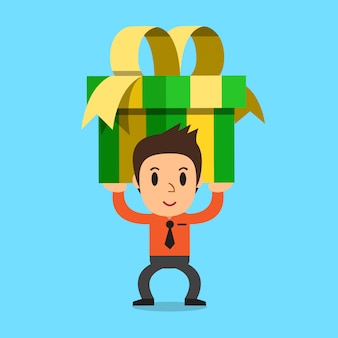 Homem negócios, carregar, um, grande, caixa presente