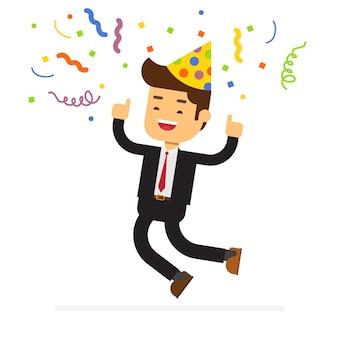 Homem negócios, celebrando, com, chapéu partido
