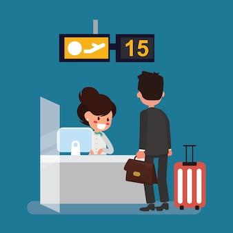 Homem negócios, check-in, escrivaninha, com, linha aérea