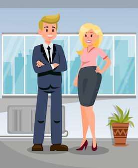 Homem negócios, com, assistente pessoal, ilustração
