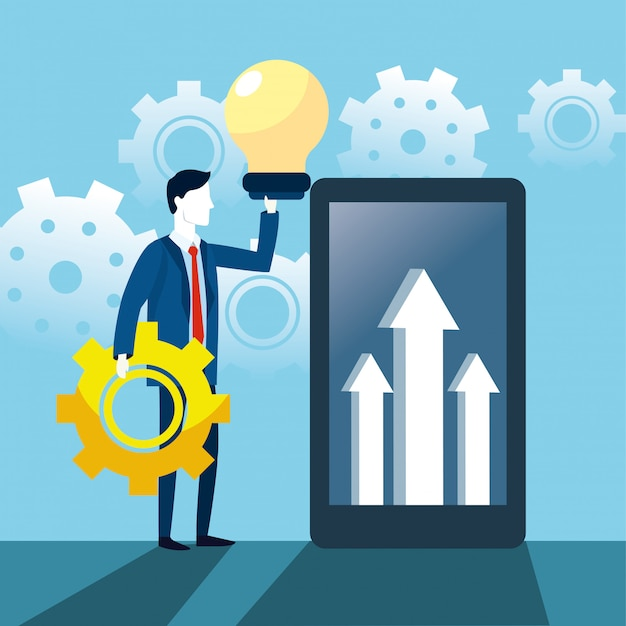 Homem negócios, com, bulbo, idéia, e, smartphone, com, setas