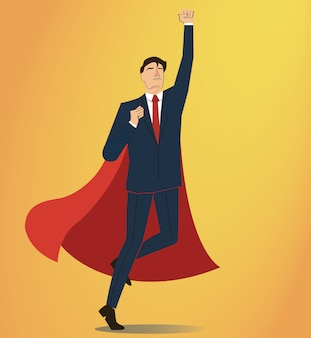 Homem negócios, com, capa vermelha