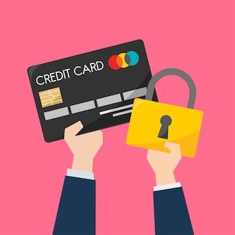 Homem negócios, com, cartão crédito, e, proteção