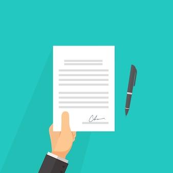 Homem negócios, com, contrato, acordo, vetorial