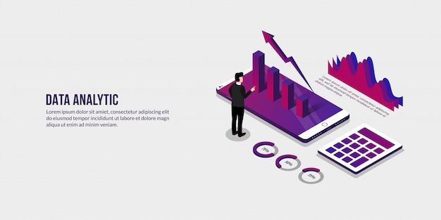 Homem negócios, com, dados isométricos, conceito analítico, elementos