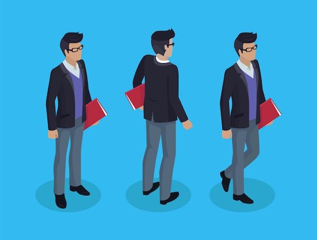 Homem negócios, com, documentos, ilustração