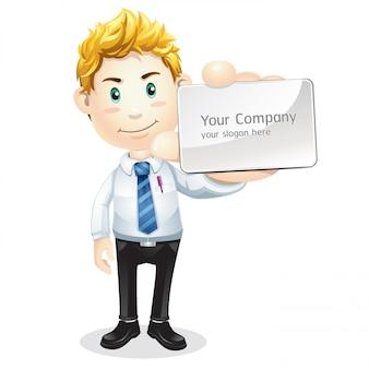 Homem negócios, com, em branco, cartão negócio