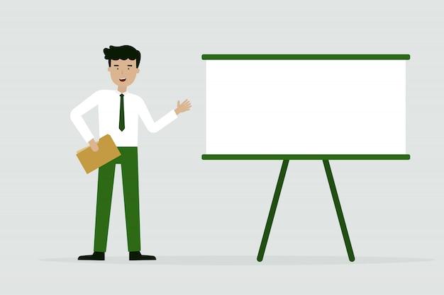Homem negócios, com, gráfico, apresentação