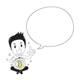 Homem negócios, com, grande, moeda, pilha, e, fala, bolha