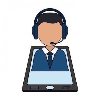 Homem negócios, com, headset, ligado, smartphone
