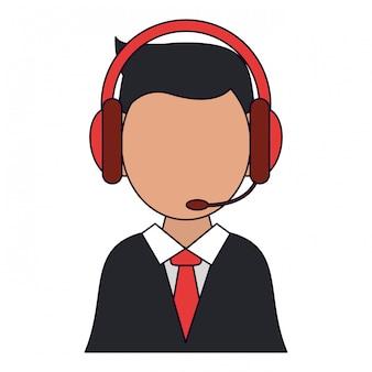 Homem negócios, com, headset