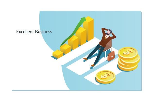 Homem negócios, com, lucros, direção, negócio, conceito