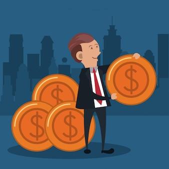 Homem negócios, com, moedas