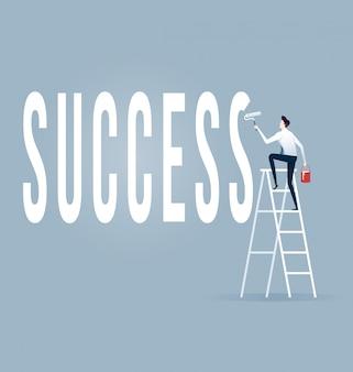 Homem negócios, com, rolo pintura, quadro, palavras, sucesso, vetorial