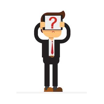 Homem negócios, com, tabuleta, e, marca pergunta, ligado, tela