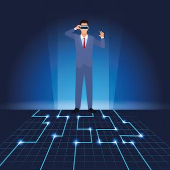 Homem negócios, com, virtual, óculos