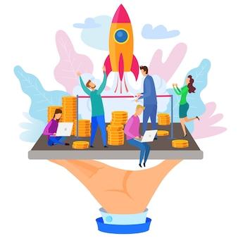 Homem negócios, corte, fita, foguete, lançamento, ilustração