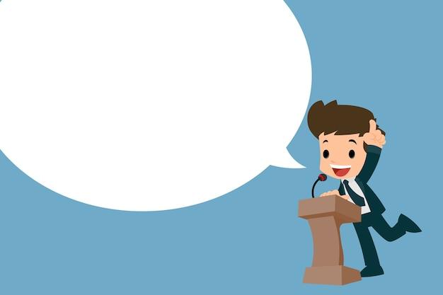 Homem negócios, dar, seu, fala