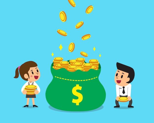 Homem negócios, e, businessowman, ganhando dinheiro