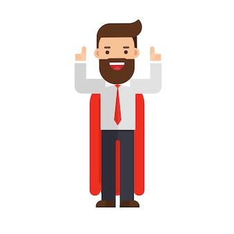 Homem negócios, e, capa vermelha