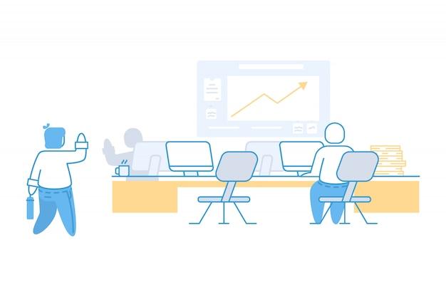 Homem negócios, e, coworking, escritório, conceito, ilustração