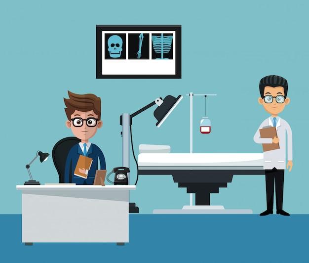 Homem negócios, e, doutor, em, escritório, desenhos animados