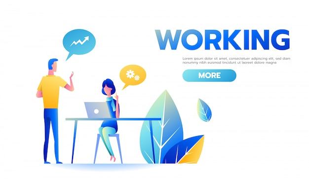 Homem negócios, e, executiva, trabalhando, discutir, estratégia negócio, em, escrivaninha escritório