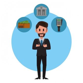 Homem negócios, e, símbolos