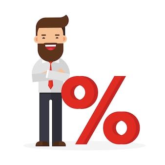 Homem negócios, e, sinal percentual